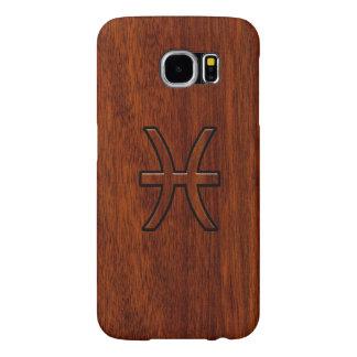 Pisces Zodiac Symbol Brown Mahogany wood style Samsung Galaxy S6 Case