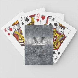 Pisces Zodiac Symbol in grunge steel style print Playing Cards