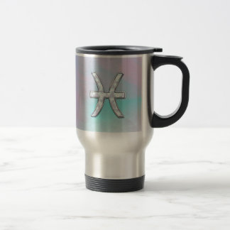 Pisces Zodiac Symbol Mother of Pearl Decor Travel Mug