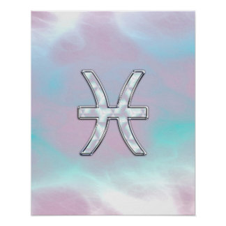 Pisces Zodiac Symbol Mother of Pearl style Poster