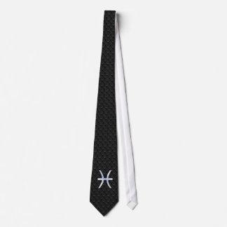 Pisces Zodiac Symbol on Black Snake Skin Decor Tie