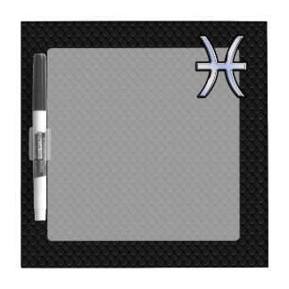 Pisces Zodiac Symbol on Black Snake Skin Style Dry Erase Board