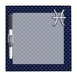 Pisces Zodiac Symbol on Blue Carbon Fiber Print Dry Erase Board