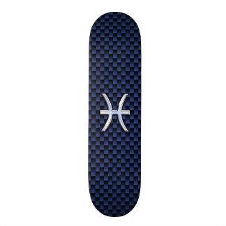 Pisces Zodiac Symbol on Blue Carbon Fiber Print Skateboard