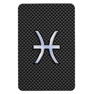 Pisces Zodiac Symbol on Carbon Fiber Print Rectangular Photo Magnet