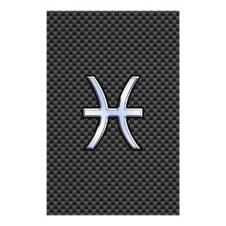 Pisces Zodiac Symbol on Carbon Fiber Print Stationery