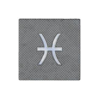 Pisces Zodiac Symbol on Carbon Fiber Print Stone Magnet