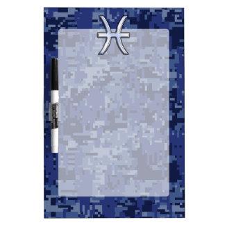 Pisces Zodiac Symbol on Navy Blue Digital Camo Dry Erase Board