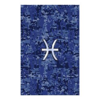 Pisces Zodiac Symbol on Navy Blue Digital Camo Stationery
