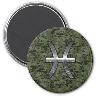 Pisces Zodiac Symbol Woodland Digital Camouflage Magnet