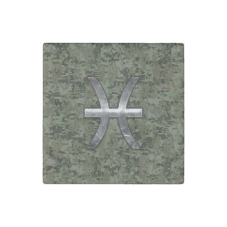 Pisces Zodiac Symbol Woodland Digital Camouflage Stone Magnet