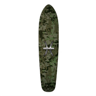 Pisces Zodiac Symbol Woodland Green Digital Camo Skateboard Deck