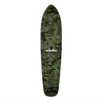 Pisces Zodiac Symbol Woodland Green Digital Camo Skateboard Deck