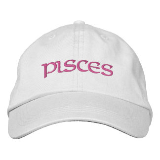 Pisces Zodiac White/Magenta Cap Embroidered Baseball Cap