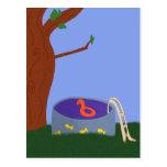 Piscina bajo arte caprichoso del dibujo animado de tarjeta postal