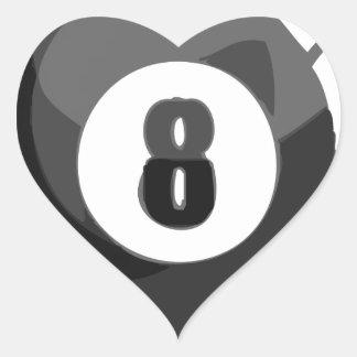 Piscina de 8 bolas pegatina en forma de corazón