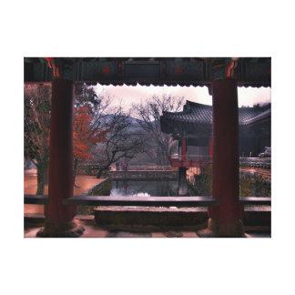 Piscina de reflejo, templo de Songgwangsa, Corea Impresión En Lienzo Estirada