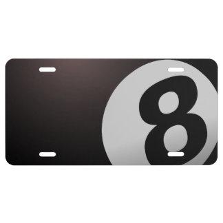 Piscina del billar de 8 bolas placa de matrícula
