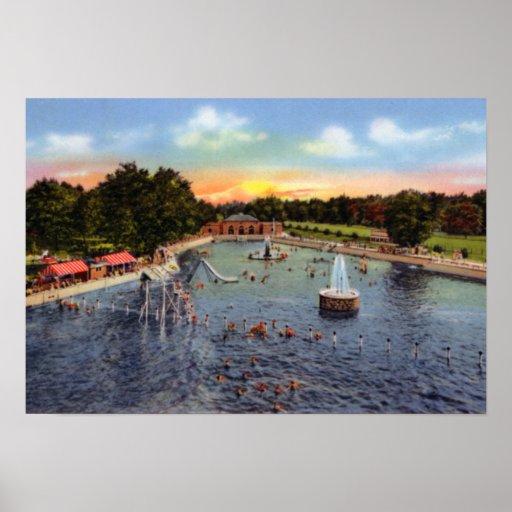 Piscina del parque del indicador del Topeka Kansas Póster