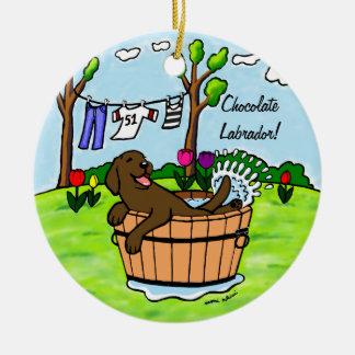 Piscina del perrito de Labrador del chocolate Ornatos