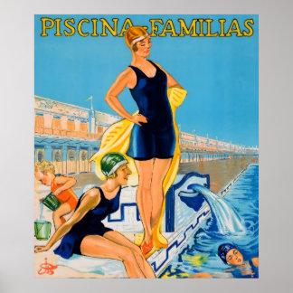 Piscina Familias Swimming Vintage Advert Posters