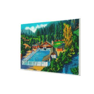 Piscina gigantesca en las aguas termales del solen impresiones en lienzo estiradas