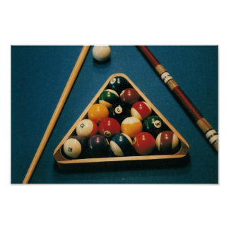 Piscina/tabla de Biliiards, bolas, ques -- Poster