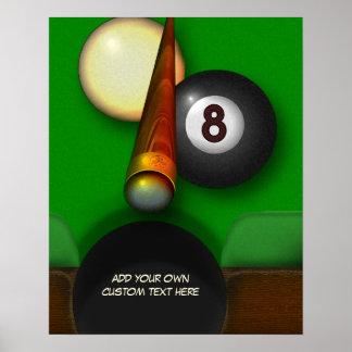 Piscina y billares de ocho bolas personalizados póster