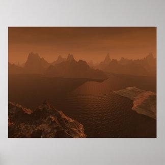 Piscinas del hidrocarburo del titán póster
