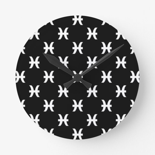 Piscis modelan blanco y negro reloj redondo mediano