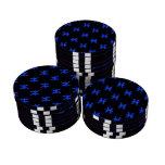 Piscis modelan el azul juego de fichas de póquer