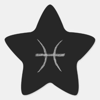 Piscis. Muestra de la astrología del zodiaco. Pegatina En Forma De Estrella