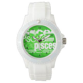 Piscis; Rayas verdes de neón Reloj De Mano