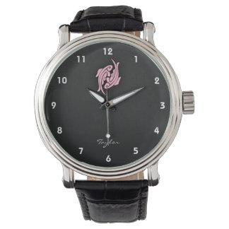Piscis rosas claros reloj de mano