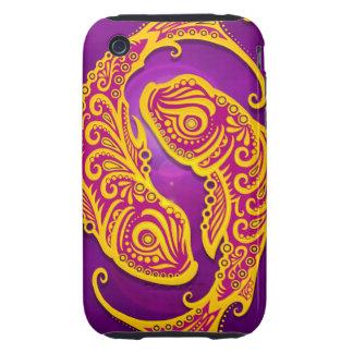 Piscis tribales púrpuras y amarillos complejos, iPhone 3 tough coberturas