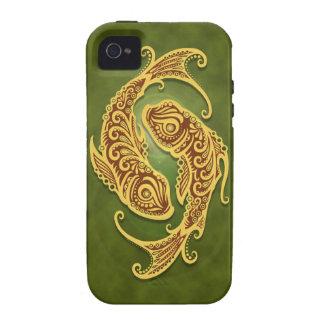 Piscis tribales verdes complejos iPhone 4/4S carcasa