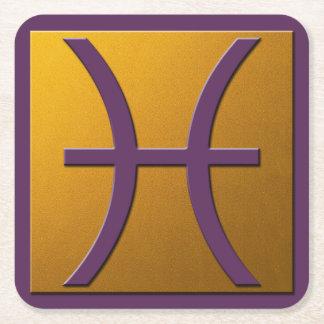 Piscis - violeta y oro posavasos personalizable cuadrado