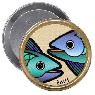 Piscis Z (Pin-En el botón) Pin Redondo De 4 Pulgadas