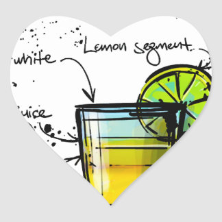 Pisco Sour Cocktail Recipe Heart Sticker