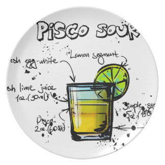 Pisco Sour Cocktail Recipe Plate