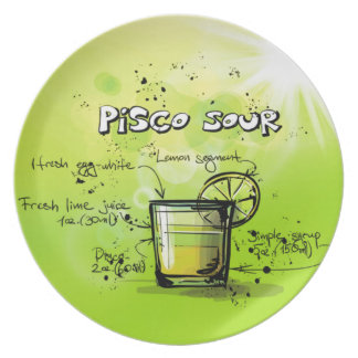 Pisco Sour Drink- Cocktail Gift Melamine Plate