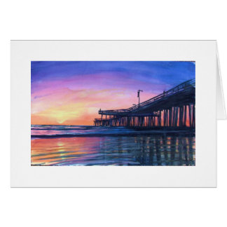 """Pismo Beach Pier""  SUNSET Greeting Card & Stamps"