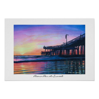 Pismo Pier at Sunset Original WAtercolor Poster