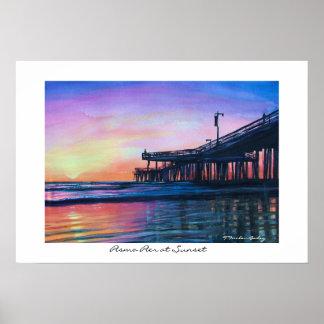 Pismo Pier at Sunset Original WAtercolor Poster