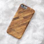 Piso de madera del grano de la madera dura - funda de iPhone 6 barely there