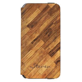 Piso de madera del grano de la madera dura - funda billetera para iPhone 6 watson