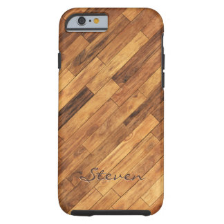 Piso de madera del grano de la madera dura - funda de iPhone 6 tough