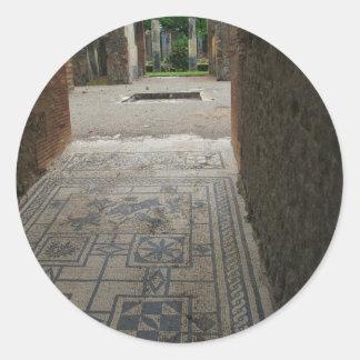 Piso de mosaico de Pompeya Pegatina Redonda