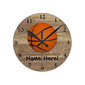 Piso personalizado de madera del baloncesto reloj redondo mediano