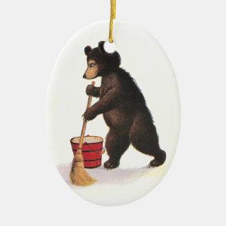 Piso que aljofifa del oso de peluche adorno ovalado de cerámica